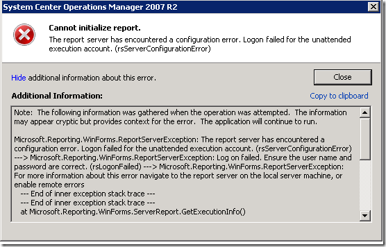 The report server has encountered a configuration error