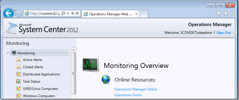 "SCOM 2012 Web Console Configuration ""NO LONGER Required"