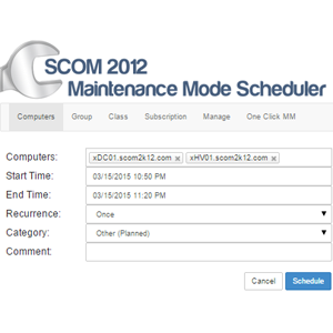 SCOM 2012 and 2016 Maintenance Mode Scheduler Medium Business License  Annual Subscription (1,500 SCOM Agents or less)