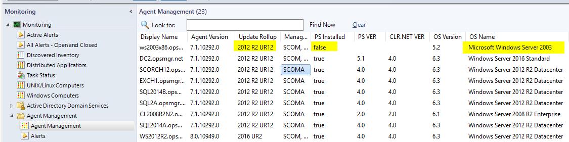 Monitoring Windows Server 2003 with SCOM 2016 | SCOM