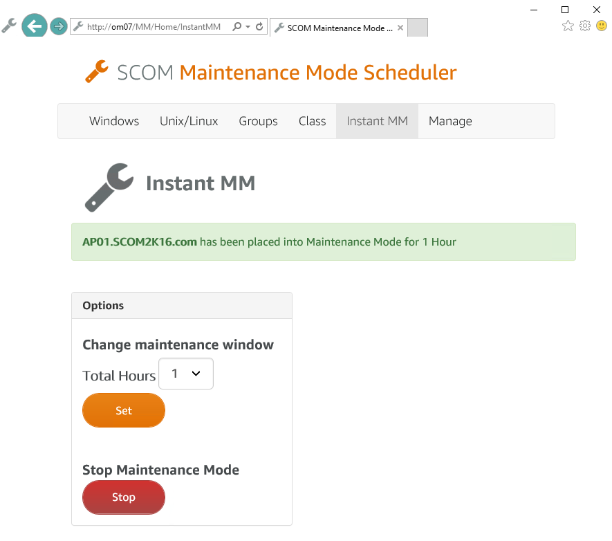 SCOM Maintenance Mode Scheduler